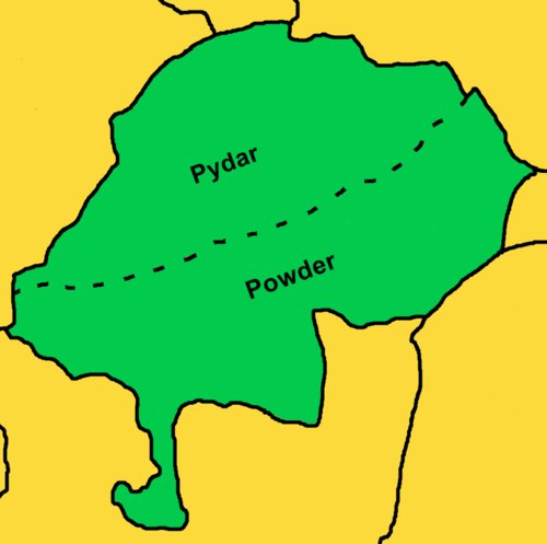 The parish of St Enoder, showing the parts of the parish in the hundreds of Pydar and Powder